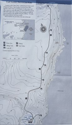 This is the map of the Cape Smokey trail that you'll see at the trailhead.  It gives a good indication of differing elevations as you hike the trail.