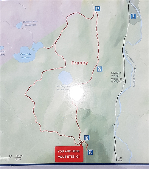 This is the map at the trailhead and at top of the Franey Mountain in the Cape Breton Highlands National Park.  Fantastic hiking trail.