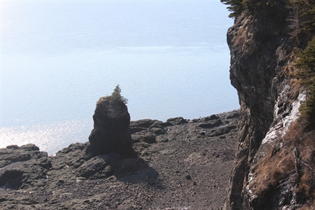 This tall rock has been eroded by the continual low and high tide cycles in the Bay of Fundy (Nova Scotia).