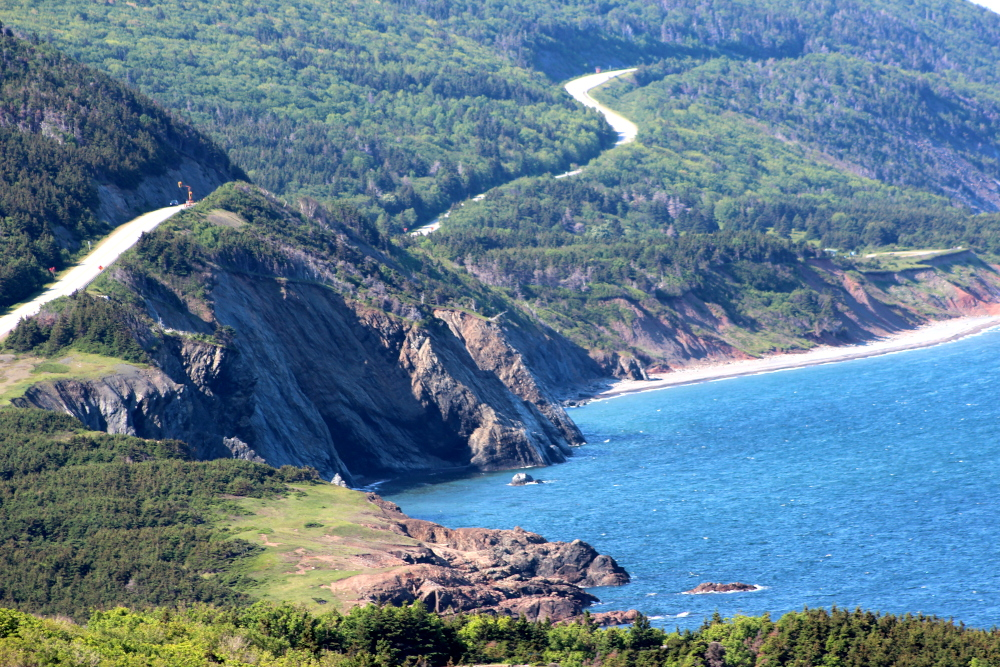 The Cabot Trail winding through the Cape Breton Highlands National Park in northern Cape Breton.