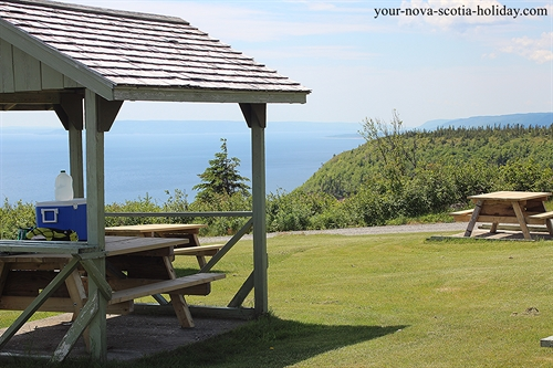 Picnic area in the Cape Smokey Provincial Park has gorgeous views of the Atlantic ocean.  The trailhead for the hiking trail is near the picnic area.