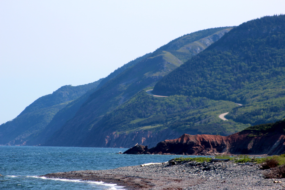 Entering the Cape Breton Highlands National Park and starting the climb on French Mountain.