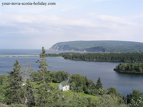 This is Freshwater Lake Look-off in Ingonish.  Awesome view of the lake, the ocean and Cape Smokey.