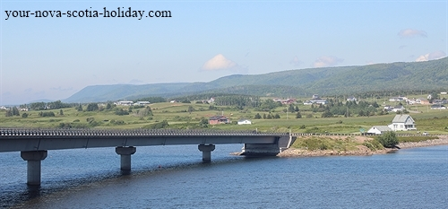 Great view of the bridge at Margaree Harbour that crosses over the Margaree River as the road heads to Cheticamp on Cape Breton Island.