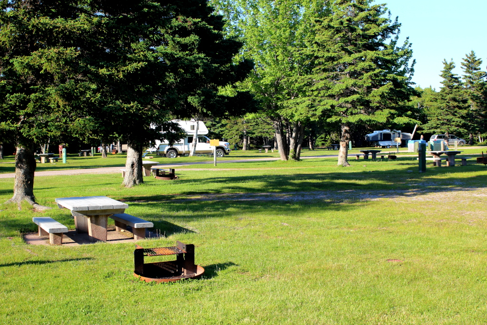 A campground in the Cape Breton Highlands National Park near Ingonish
