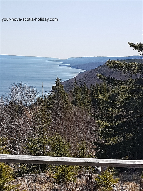 There are a couple of look-off points along the Cape Smokey hiking trail.  All have great views of the ocean.
