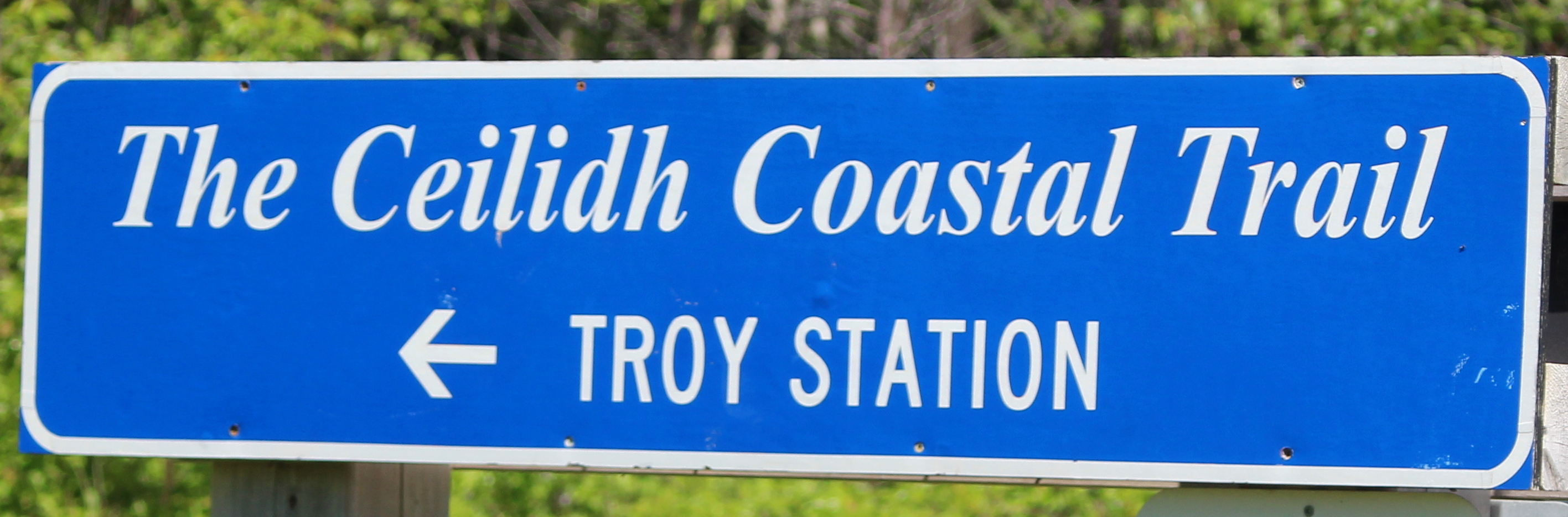 The trailhead at Troy Station - part of the Ceilidh Coastal Trail