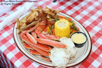 Enjoying Crab at the Chowder House in Neil's Harbour