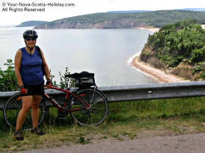 Cycling on the Cabot Trail near Ingonish