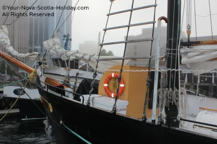 The Tall Ship 'Silva' in the fog in Halifax, Nova Scotia