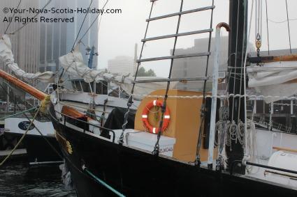 The Tall Ship 'Silva' in the fog in Halifax, Nova Scotia