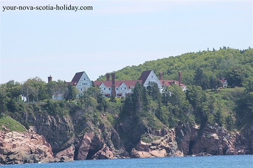 This is the beautiful Keltic Lodge located on the Middlehead peninsula overlooking the Atlantic Ocean and Ingonish beach. A gorgeous spot!