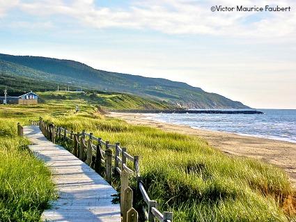 Inverness Beach boardwalk along the Ceilidh Trail in Cape Breton, Nova Scotia