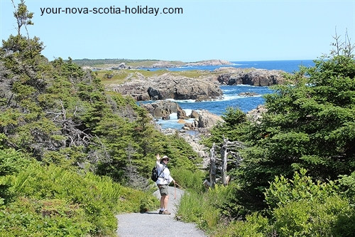 This is a great view of the trail itself.  This is a gentle descent toward the coastline. Louisbourg Lighthouse trail