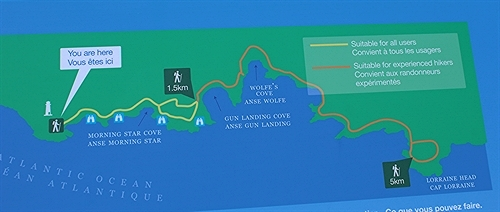 This is the Louisbourg Lighthouse trail map found at the trailhead.  It indicates significant spots along the trail.