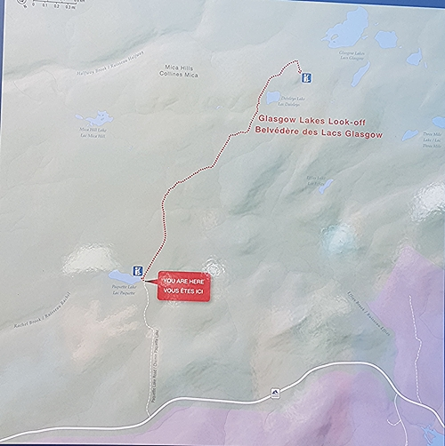 This is the map located at the Mica Hill trailhead.  A well-marked trail in the Cape Breton Highlands National park.
