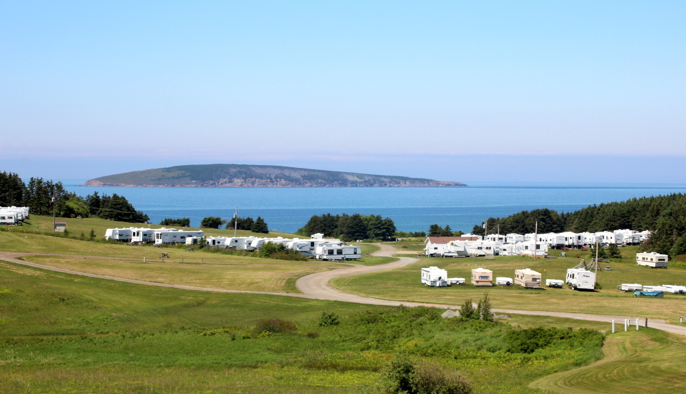 A wonderful location which is neatly hidden away on the Atlantic Ocean coastline. MacLeod's Beach campground in Dunvegan, Cape Breton.