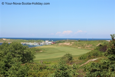 View of Cabot Links Golf Course & Inverness Harbour, Inverness, Cape Breton