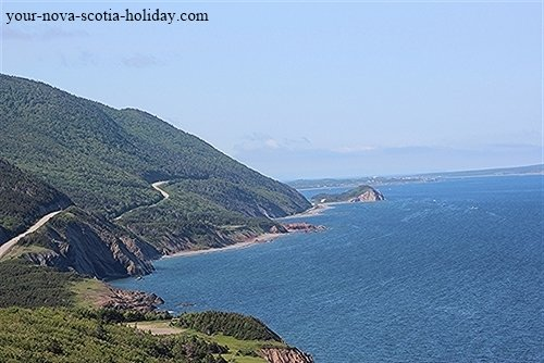The world-famous Cabot Trail in Cape Breton. A view looking south toward the Acadian village of Cheticamp.