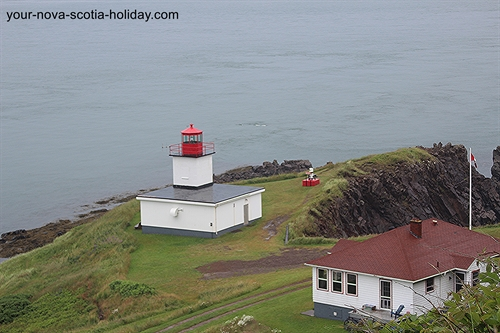 The Cape d'Or lighthouse overlooks the Bay of Fundy with staggering steep cliffs.  A gorgeous spot in Nova Scotia.