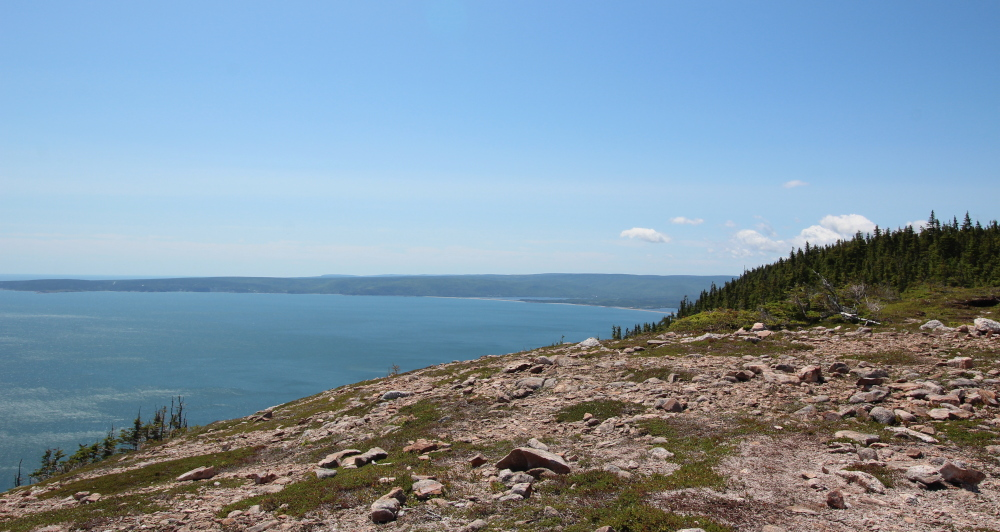 Looking south from the top of the trail toward Aspy Bay