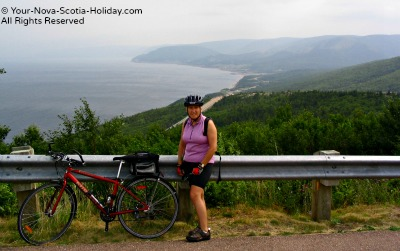 Cycling down MacKenzie Mountain toward Pleasant Bay