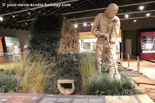 An awesome depiction of an acadian farmer tending to his land with a dyke nearby.  This is one of the many displays inside the Grand Pré visitors centre.