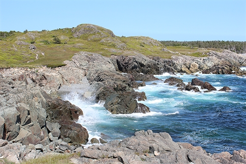 Awesome view of the crashing waves on the Louisbourg Lighthouse trail. Note the trail in the upper left side of the picture.