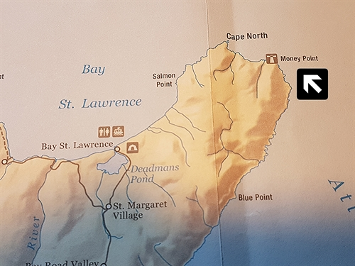 This map shows the location of Money Point in northern Cape Breton.