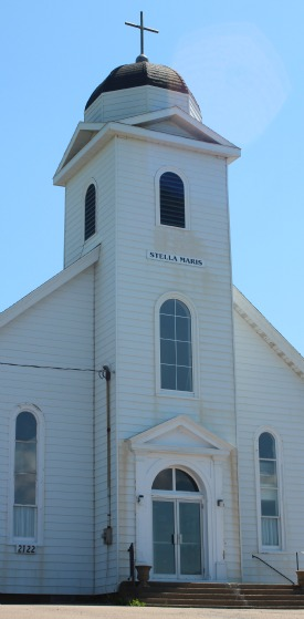 The historic Stella Maris Church built in 1899 sits proudly at the base of Creignish Mountain along the Ceilidh Trail.