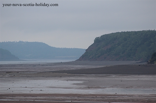 This is a view of the Bay of Fundy's Minas Basin from the Five Islands Lighthouse Park. This is low tide.